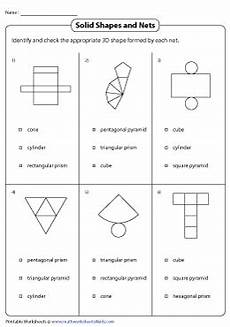 nets of 3d shapes worksheets