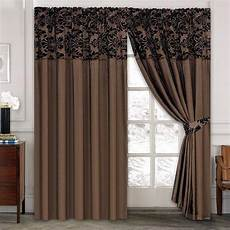 Brown Curtains by Luxury Damask Curtains Pair Of Half Flock Pencil Pleat