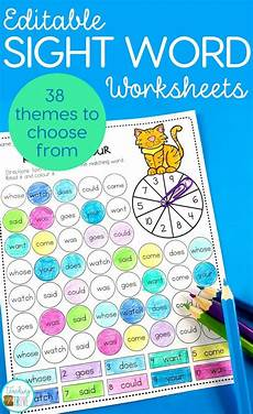 spelling worksheets using your own words 22514 editable sight word worksheets for 38 different themes sight words sight word worksheets