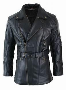 veste homme 3 4 veste cuir longue 3 4 homme fermeture diagonale ceinture