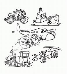 transport set coloring page for toddlers transportation coloring pages printables free