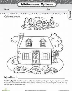 worksheets for preschoolers at home about me my house worksheet education com