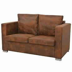 2 sitzer couch 2 sitzer sofa 137 x 73 x 82 cm k 252 nstliches wildleder my
