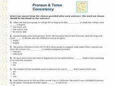 grammar worksheets verb tense consistency 25026 pronoun and tense consistency worksheet for 6th 7th grade lesson planet