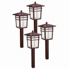 hton bay solar square mission led bronze outdoor pathway light kit 4 49603 300mg the