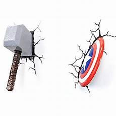 marvel thor hammer captain america shield 3d led wall