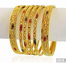 designer 22k gold 3 tone bangle 4 pcs asba58849 22k gold bangles churis of 4