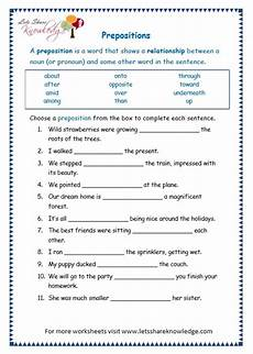 grade 3 grammar topic 17 prepositions worksheets lets share knowledge