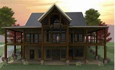 lakefront house plan with wraparound porch and walkout