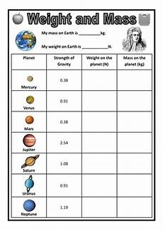 weight and mass on different planets by dazayling teaching resources tes