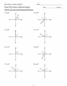 exact trig values of special angles worksheet for 10th 12th grade lesson planet