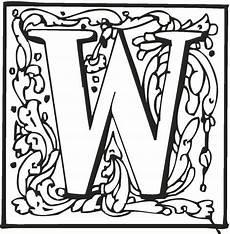 lettere alfabeto da stare e colorare letter w with ornament coloring page free printable