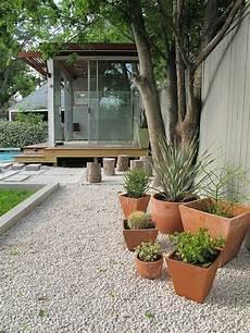 garden design with gravel and pot plants garden design