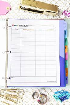 class schedule printable student binder with free printables for back to school study aids