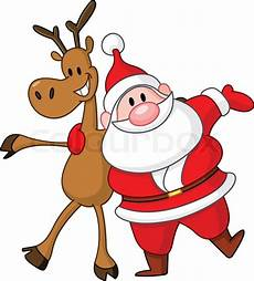 reindeer and santa embracing each stock vector
