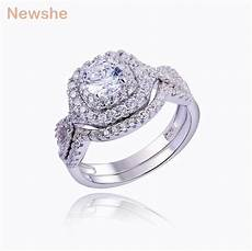 newshe 1 9 ct 2 pcs solid 925 sterling silver wedding ring sets engagement band fashion jewelry