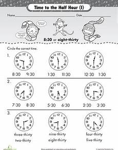 telling time by the hour worksheets for kindergarten 3602 on the half hour telling time with malcolm mouse homeschool math 1st grade math elementary math