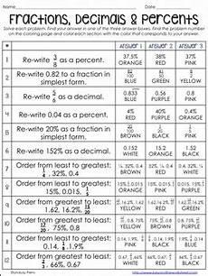 decimal percentage worksheet 7255 converting fractions decimals and percents activity by lindsay perro