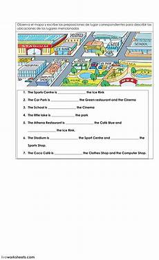 locating places worksheet with answers 15952 preposition of place on a map interactive worksheet