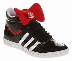 womens adidas top ten hi sleek black rd bow nite trainers