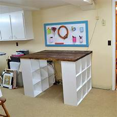 bookcase expedit diy craft room table do it yourself
