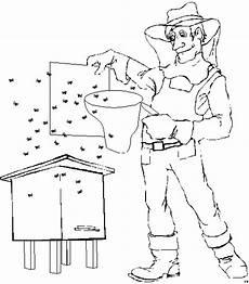 imker mit bienen ausmalbild malvorlage sonstiges