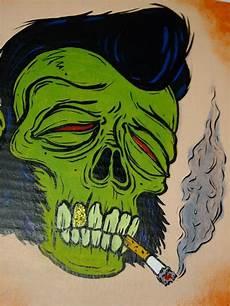 rod rockabilly greaser zombie skull by melissahatesyou etsy