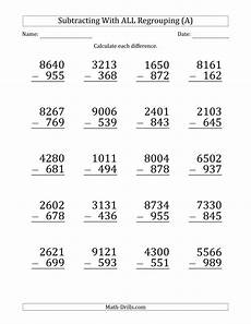 multiple digits vertical subtraction with regrouping large print subtracting 3 digit numbers with all
