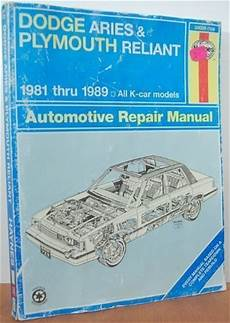 service repair manual free download 1981 plymouth reliant on board diagnostic system top free books online dodge aries and plymouth reliant 1981 thru 1989 all k car models