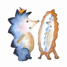 igel mit spiegel aquarell zeichnung kindergarten abbildung