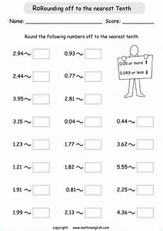 decimals off to the nearest tenths math grade 4 worksheet with rounding off decimals