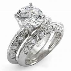 round cubic zirconia bridal set wedding engagement ring 925 sterling silver