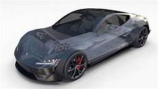 tesla roadster 2020 midnight silver with 3d model 2