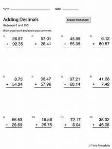 division worksheets creator 6134 adding decimals between 0 and 100 worksheet maker infinite math sheets