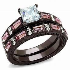 princess square pink cz black stainless steel 2pc wedding
