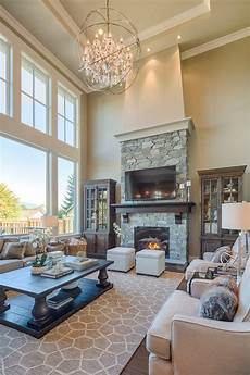 fireplace living room traditional with high ceilings