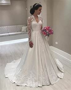 vintage a line lace long sleeves satin wedding dresses for