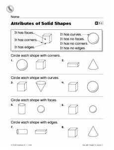 shapes attributes worksheets 1035 attributes of solid shapes grade reteaching worksheet worksheet for 1st grade lesson planet