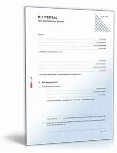 Mietvertrag Zimmer - mietvertrag m 246 bliertes zimmer muster zum