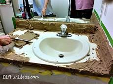 diy bathroom countertop ideas easy concrete overlay vanity makeover hometalk