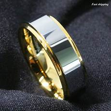 8 6mm tungsten mens ring 18k gold high polished wedding band atop men s jewelry ebay