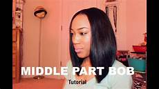 middle part bob tutorial youtube