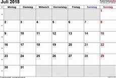 Kalender 2018 Juli - kalender juli 2018 als word vorlagen
