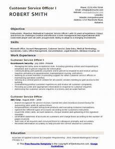 customer service officer resume sles qwikresume