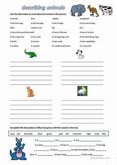 free esl describing animals worksheets
