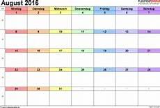 Kalender August 2016 Als Word Vorlagen
