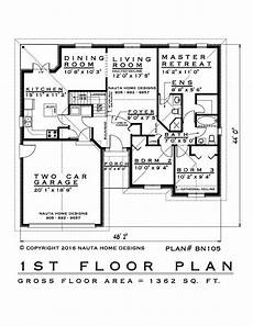 bungalow house plans ontario 3 bedroom bungalow house plan bn105 1364 sq feet