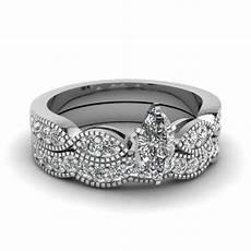 marquise shaped diamond milgrain weave wedding in 14k