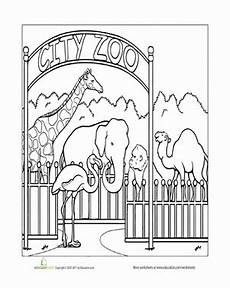coloring pages places in town 18038 paint the town zoo worksheet education