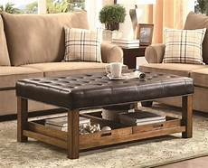 Brown Leather Ottoman Coffee Table